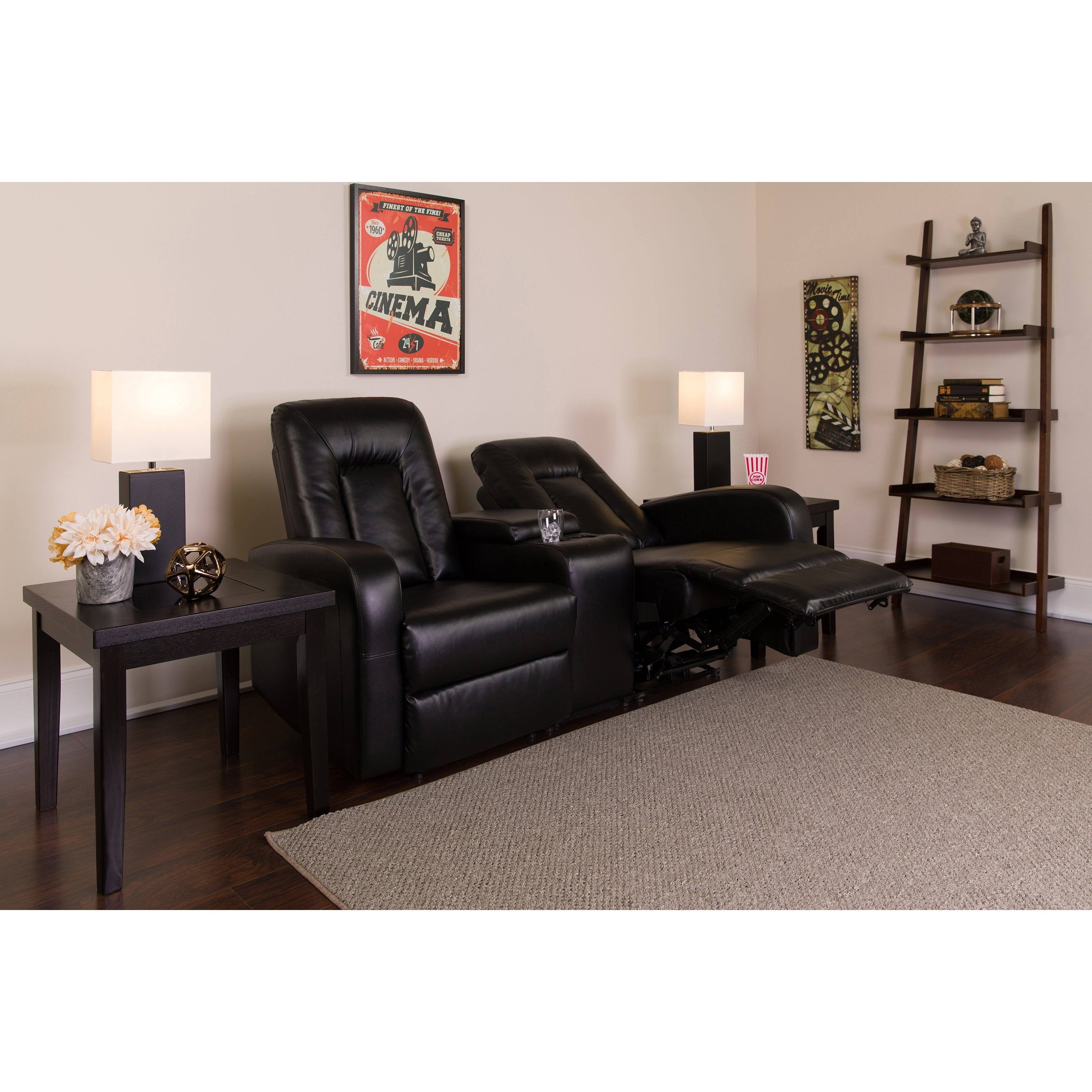 Lancaster Home Eclipse Series 2-Seat Reclining Black Leat...