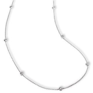 Avanti 14k White Gold 1/5ct TDW Diamond Station Necklace (G-H, SI1-SI2)