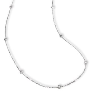 Avanti 14k White Gold 1/5ct TDW Diamond Station Necklace