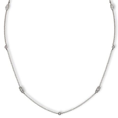 Avanti 14k White Gold 1/3ct TDW Diamond Station Necklace