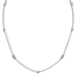 Avanti 14k White Gold 1/3ct TDW Diamond Station Necklace