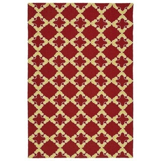 Handmade Indoor/ Outdoor Getaway Red Trellis Rug (4' x 6') - 4' x 6'