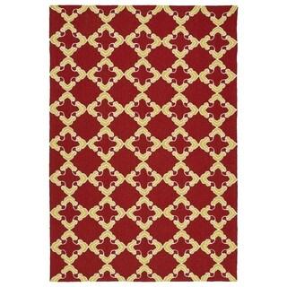 Handmade Indoor/ Outdoor Getaway Red Trellis Rug (2' x 3')
