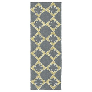 Handmade Indoor/ Outdoor Getaway Grey Trellis Rug - 2' x 6'