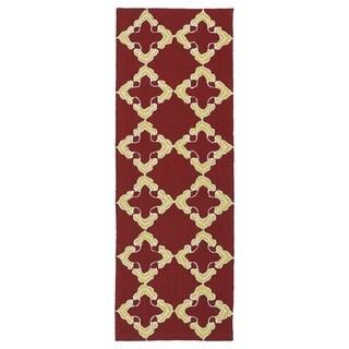 Handmade Indoor/ Outdoor Getaway Red Trellis Rug (2' x 6')