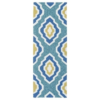 Handmade Indoor/ Outdoor Getaway Blue Geo Rug (2' x 6') - 2' x 6'