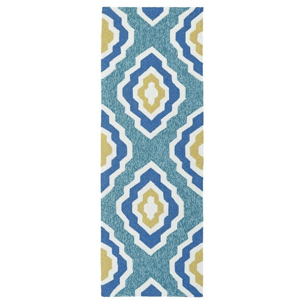 Handmade Indoor/ Outdoor Getaway Blue Geo Rug (2' x 6') - 2' x 6'