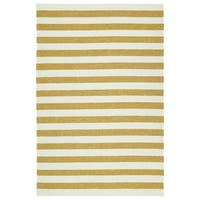 Handmade Indoor/ Outdoor Getaway Gold Stripes Rug - 4' x 6'