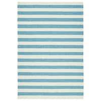 Handmade Indoor/ Outdoor Getaway Blue Stripes Rug - 2' x 3'
