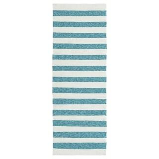 Handmade Indoor/ Outdoor Getaway Blue Stripes Rug (2' x 6')