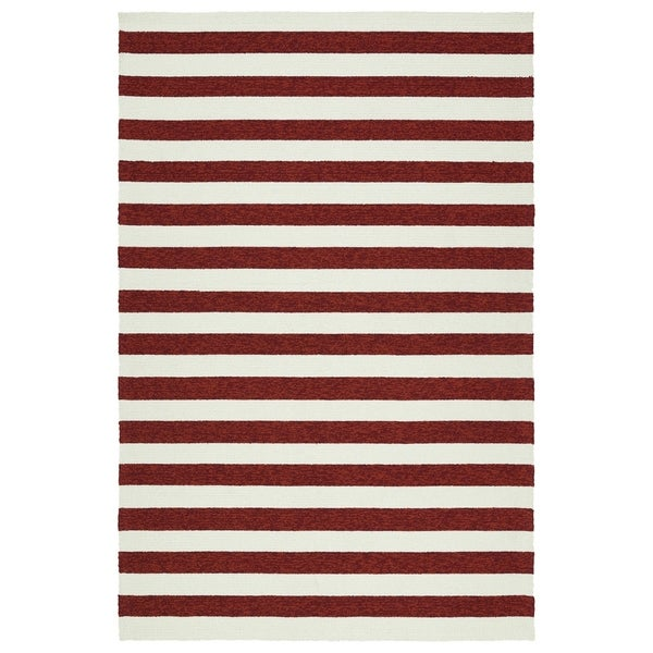 Handmade Indoor/ Outdoor Getaway Red Stripes Rug - 2' x 3'
