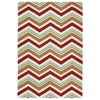 Handmade Indoor/ Outdoor Getaway Red Chevron Rug - 4' x 6'