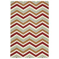 Handmade Indoor/ Outdoor Getaway Red Chevron Rug (4' x 6') - 4' x 6'
