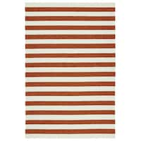 Handmade Indoor/ Outdoor Getaway Paprika Stripes Rug - 2' x 3'