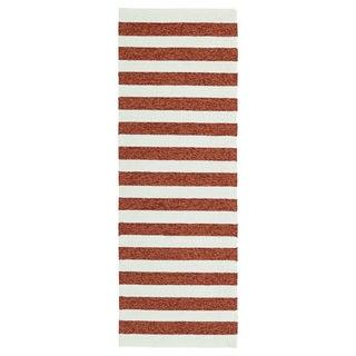 Handmade Indoor/ Outdoor Getaway Paprika Stripes Rug (2' x 6')