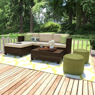 Handy Living Aldrich Brown 5 Piece Indoor/ Outdoor Sectional And Table With  Reversible Ottoman