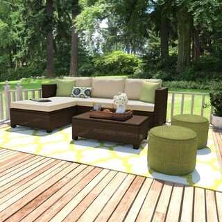 Handy Living Aldrich Brown 5-piece Indoor/ Outdoor Sectional and Table with Reversible Ottoman