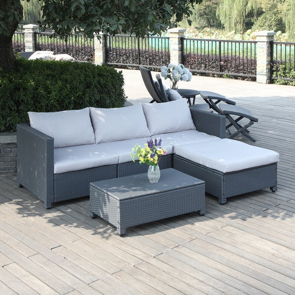 Handy Living Aldrich Grey 5 Piece Rattan Indoor/ Outdoor Sectional And  Table With Reversible