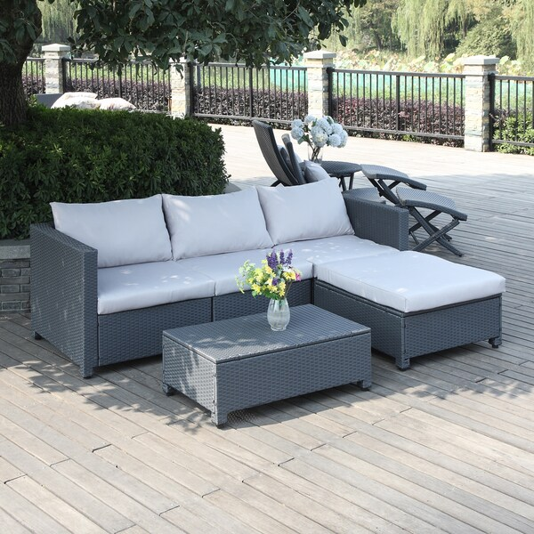 Handy Living Aldrich Grey 5 piece Rattan Indoor  Outdoor Sectional and Table  with Reversible. Handy Living Aldrich Grey 5 piece Rattan Indoor  Outdoor Sectional