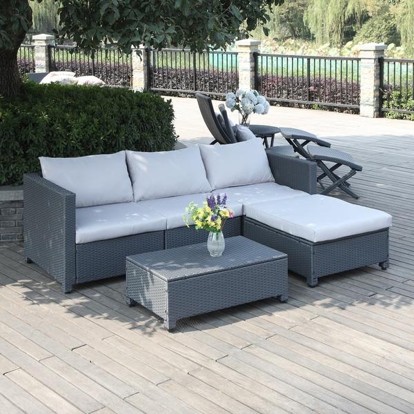 Handy Living Aldrich Grey 5 Piece Rattan Indoor/ Outdoor Sectional And Table  With Reversible  Indoor Patio Furniture