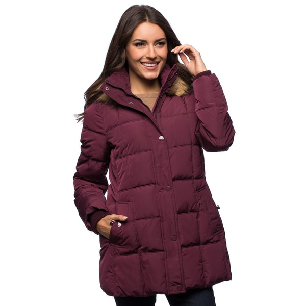 Shop Tommy Hilfiger Women's Faux Down Hooded Coat Free