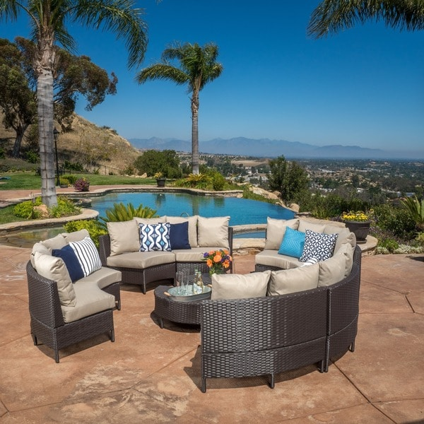 Newton Outdoor 10 Piece Wicker Lounge Set By Christopher Knight Home