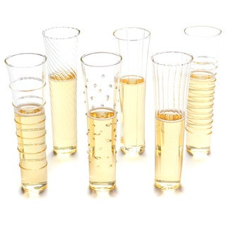Elegant Glass Champagne Flutes (Set of 6)