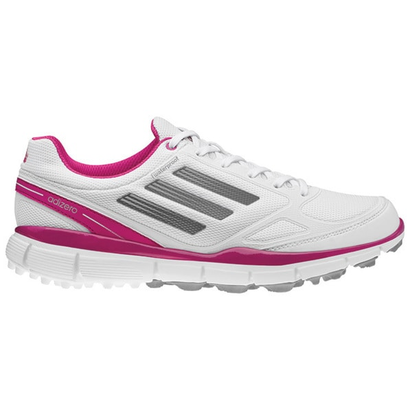 Adidas Womens Adizero Sport II Spikeless Running White-Metallic Silver-Bahia Magenta Golf Shoes