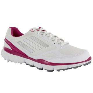 Adidas Womens Adizero Sport II Spikeless Running White-Metallic Silver-Bahia Magenta Golf Shoes
