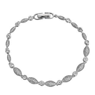 Decadence Sterling Silver Cubic Zirconia Link Bracelet