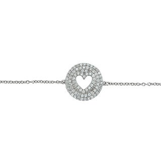Decadence Sterling Silver Micropave Cubic Zirconia Triple Halo Cutout Heart Bracelet