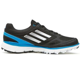 Adidas Womens Adizero Sport II Spikeless Black-Running White-Solar Blue Golf Shoes (Option: 6)