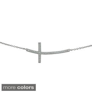 Decadence Sterling Silvwer Micropave Cubic Zirconia Curved Cross Bracelet
