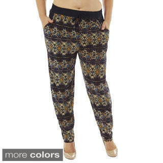 Golden Black Women's Plus Size Symmetry Printed Knitted Joggers Pants