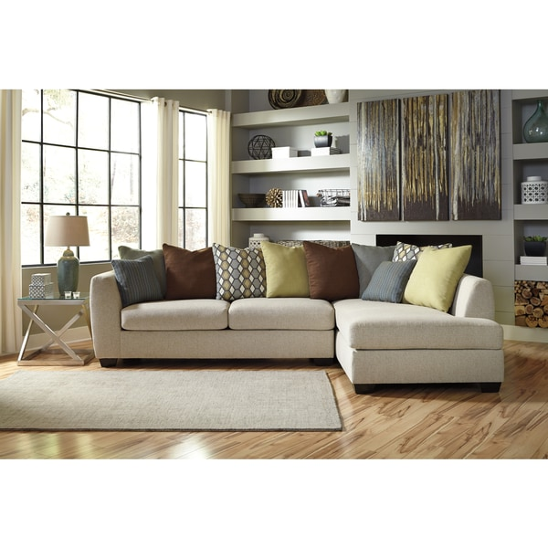Signature design by ashley beige casheral left facing for Beige sectional with chaise
