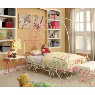 Furniture of America Princess Fantasy 2-piece Carriage-Inspired Twin Bed and Nightstand Set
