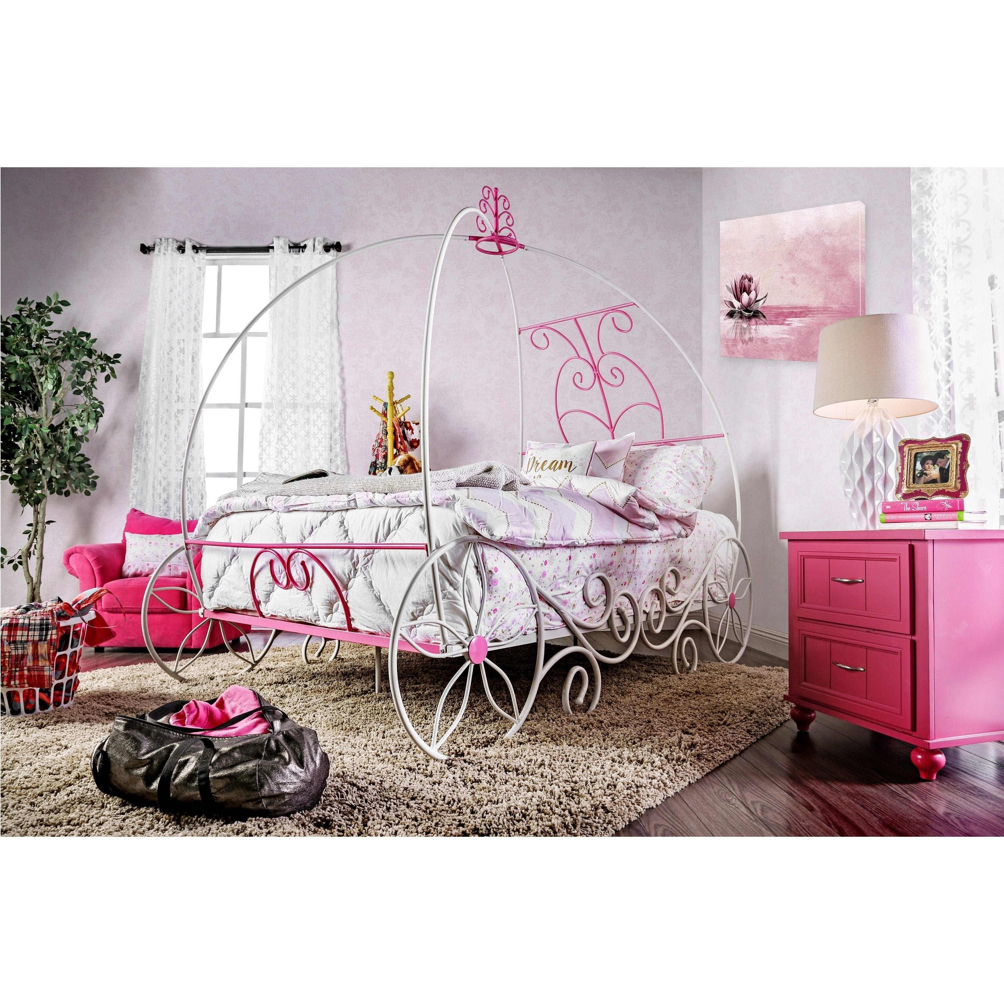 Shop Princess Fantasy Modern Twin White 2 Piece Bed Set By FOA   On Sale    Free Shipping Today   Overstock   10089946