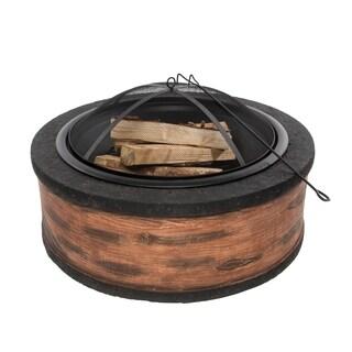 Sun Joe Fire Joe 35-Inch Cast Stone Fire Pit - Rustic Wood