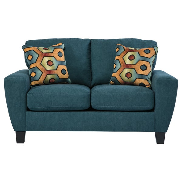 Signature Design By Ashley Sagen Teal Loveseat Free Shipping Today 17232299