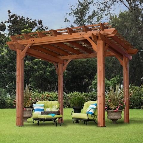 Cedar Pergola 10' ... - Buy Pergolas Gazebos & Pergolas Online At Overstock.com Our Best
