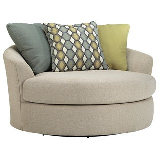 Signature Design by Ashley Casheral Linen Oversized Swivel Accent Chair