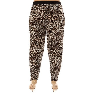 Golden Black Women's Plus Size Fierce Leopard Printed Knitted Joggers Pants