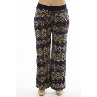 Women's Navy Symmetrical Print Plus Size Drawstring Waist Palazzo Pants
