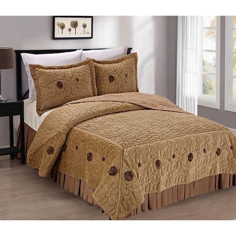 Serenta Faux Fur Ribbon Embroidered 3-piece Bedspread Set