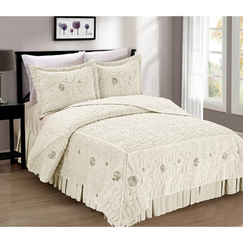 Serenta Faux Fur Ribbon Embroidered 3-piece Bedspread Set