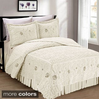 Serenta Faux Fur Ribbon Embroidered 3-piece Bedspread Set (More options available)