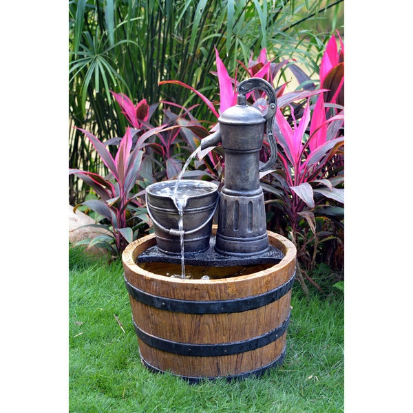Solar Sunnysaze Old Fashioned Water Pump Kit with Barrel Fountain