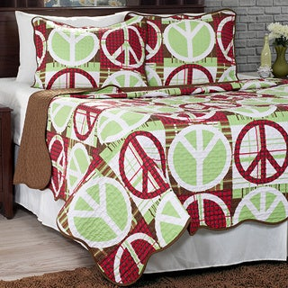 Lavish Home Brown Lime and Red Abstract Peace Sign 3-piece Quilt Set