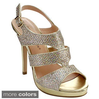 DE BLOSSOM COLLECTION KIMI-25 Women's Strappy Sling Back Gladiator Dress Heels