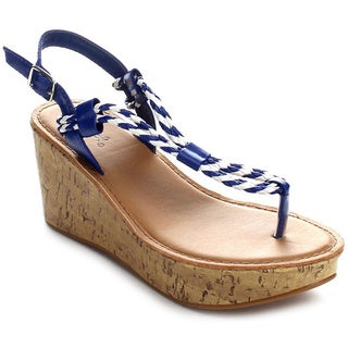 Qupid BALI-28 Women's Slingback Thong Platform Wedges